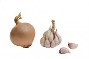 Onion and garlic bulb cloves